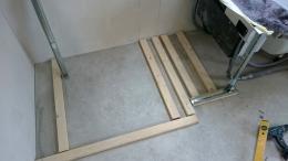 Trockenbau Holzlatten auf dem Boden