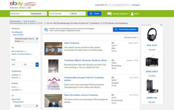 eBay Kleinanzeigen: Suche nach Trockenbauer