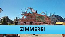 Zimmerei Gewerk: Dachstuhl wird aufgestellt