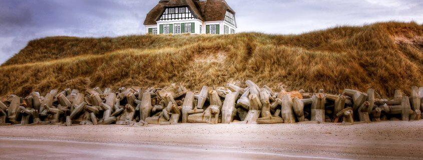 Reetdachhaus auf einem Hügel