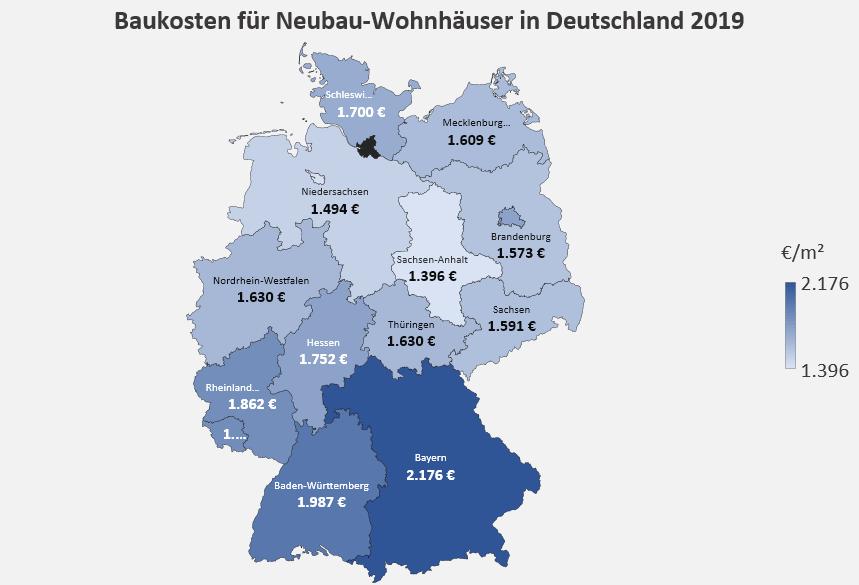 Baukosten für Neubau-Wohnhäuser in Deutschland 2019