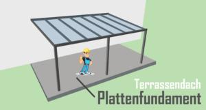 Terrassendach Plattenfundament